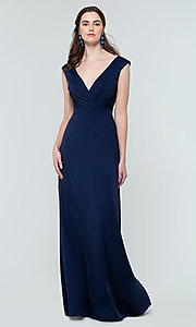 Image of classic long v-neck bridesmaid dress. Style: KL-200172 Front Image