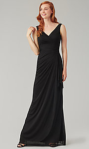 Image of sleeveless long formal prom dress with ruffle. Style: KL-200183 Detail Image 1