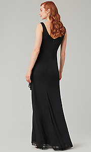 Image of sleeveless long formal prom dress with ruffle. Style: KL-200183 Detail Image 2