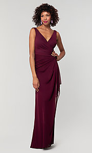Image of sleeveless long formal prom dress with ruffle. Style: KL-200183 Detail Image 8
