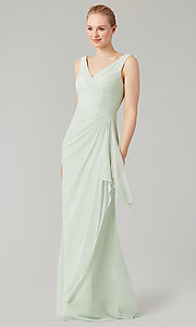 Image of sleeveless long formal prom dress with ruffle. Style: KL-200183 Detail Image 7