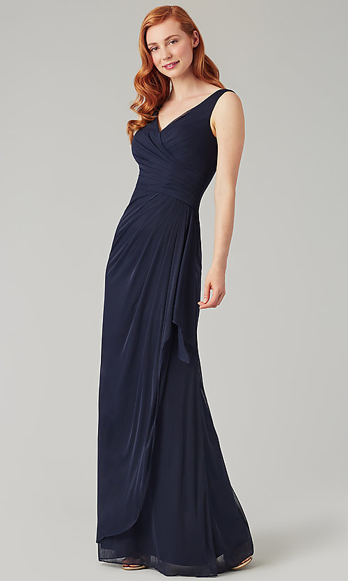 Image of sleeveless long formal prom dress with ruffle. Style: KL-200183 Front Image