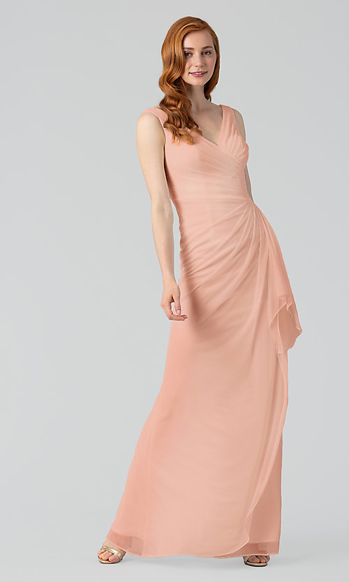 Image of sleeveless long formal prom dress with ruffle. Style: KL-200183 Detail Image 3