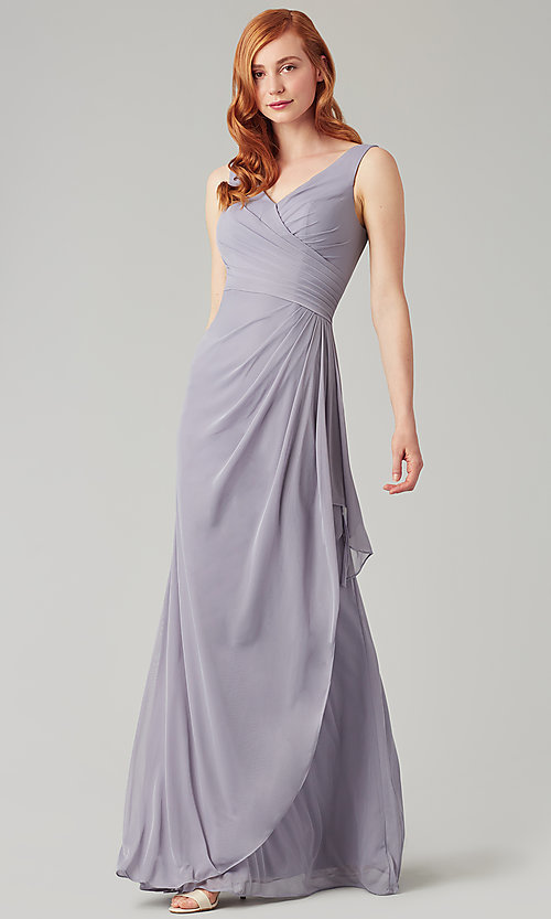 Image of sleeveless long formal prom dress with ruffle. Style: KL-200183 Detail Image 6