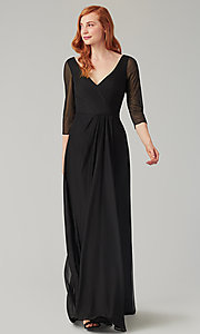 Image of mock-wrap bridesmaid dress with 3/4 sleeves. Style: KL-200184 Front Image