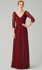 Image of mock-wrap bridesmaid dress with 3/4 sleeves. Style: KL-200184 Detail Image 6