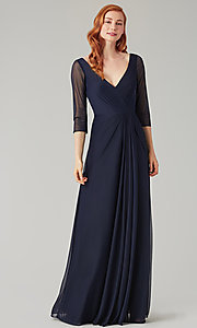 Image of mock-wrap bridesmaid dress with 3/4 sleeves. Style: KL-200184 Detail Image 1