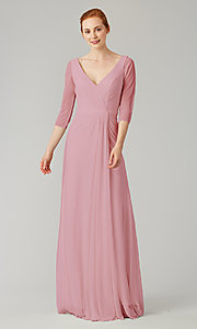 Image of mock-wrap bridesmaid dress with 3/4 sleeves. Style: KL-200184 Detail Image 8