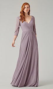 Image of mock-wrap bridesmaid dress with 3/4 sleeves. Style: KL-200184 Detail Image 2