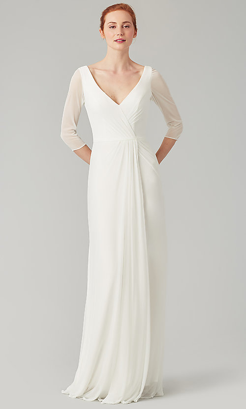 Image of mock-wrap bridesmaid dress with 3/4 sleeves. Style: KL-200184 Detail Image 3