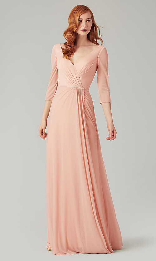Image of mock-wrap bridesmaid dress with 3/4 sleeves. Style: KL-200184 Detail Image 4
