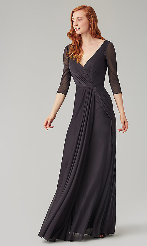 Image of mock-wrap bridesmaid dress with 3/4 sleeves. Style: KL-200184 Detail Image 7