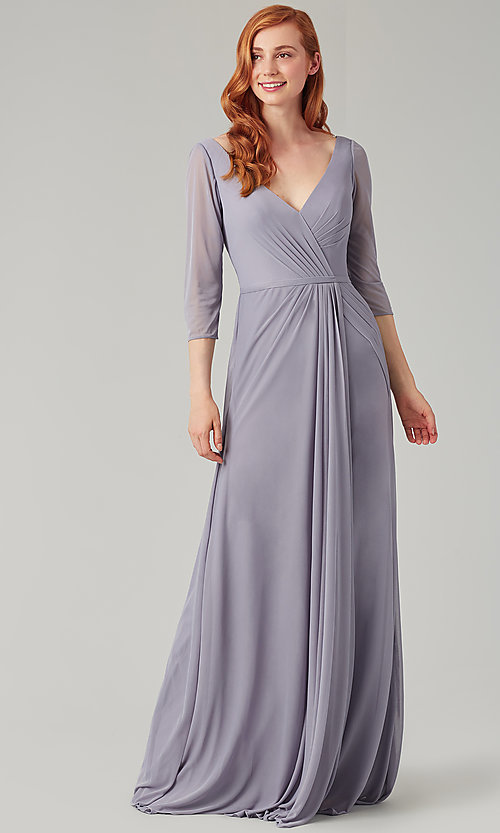 Image of mock-wrap bridesmaid dress with 3/4 sleeves. Style: KL-200184 Detail Image 5