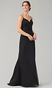 Image of stretch-chiffon long simple bridesmaid dress. Style: KL-200160 Detail Image 5