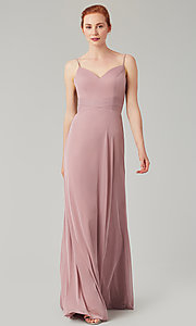 Image of stretch-chiffon long simple bridesmaid dress. Style: KL-200160 Detail Image 2
