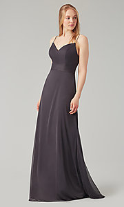 Image of stretch-chiffon long simple bridesmaid dress. Style: KL-200160 Detail Image 7