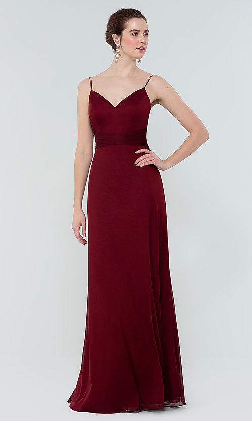 Image of stretch-chiffon long simple bridesmaid dress. Style: KL-200160 Detail Image 8