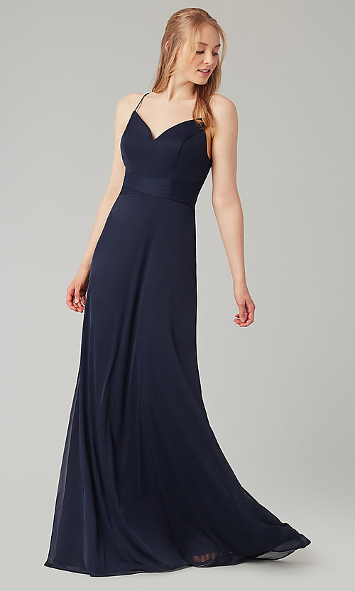Image of stretch-chiffon long simple bridesmaid dress. Style: KL-200160 Detail Image 4