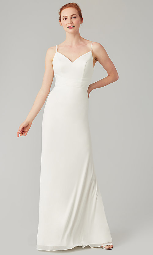 Image of stretch-chiffon long simple bridesmaid dress. Style: KL-200160 Detail Image 3