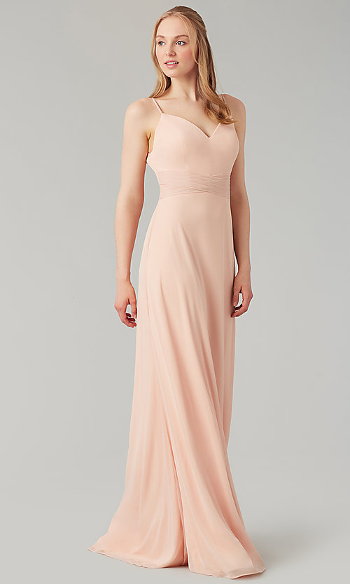 Image of stretch-chiffon long simple bridesmaid dress. Style: KL-200160 Detail Image 6