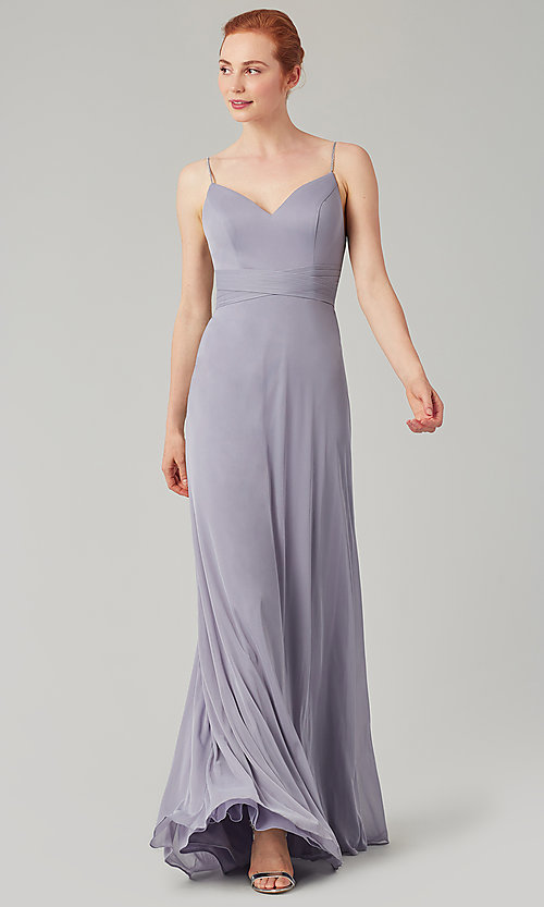 Image of stretch-chiffon long simple bridesmaid dress. Style: KL-200160 Front Image