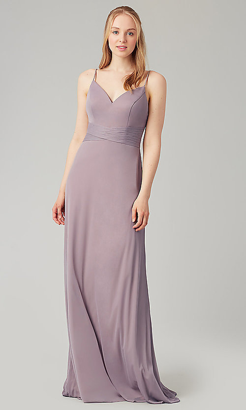 Image of stretch-chiffon long simple bridesmaid dress. Style: KL-200160 Detail Image 1