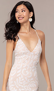 Image of long sequin-mesh v-neck prom dress by PromGirl. Style: MCR-PL-2811 Detail Image 1
