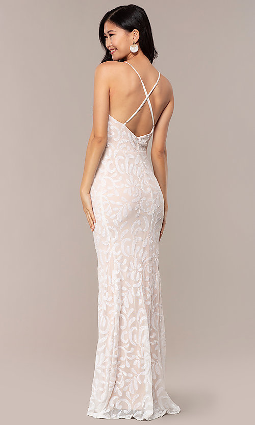 Image of long sequin-mesh v-neck prom dress by PromGirl. Style: MCR-PL-2811 Back Image