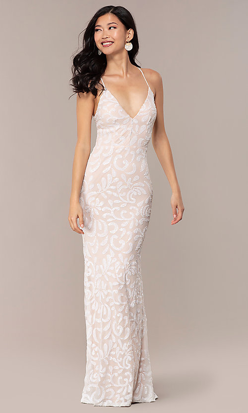 Image of long sequin-mesh v-neck prom dress by PromGirl. Style: MCR-PL-2811 Detail Image 3