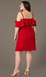 Image of cold-shoulder knee-length plus red party dress. Style: EM-FRD-P-3405-600 Back Image