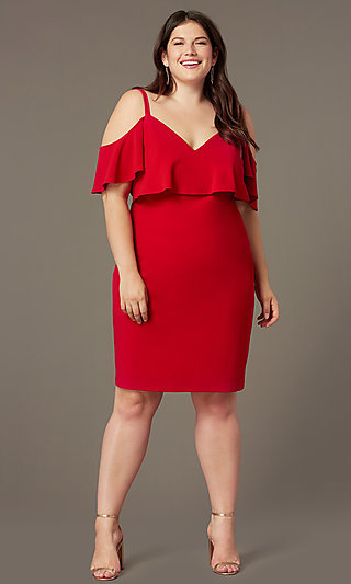 Cold-Shoulder Knee-Length Plus Red Party Dress
