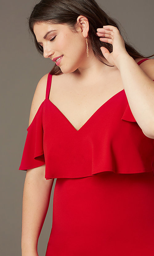 Image of cold-shoulder knee-length plus red party dress. Style: EM-FRD-P-3405-600 Detail Image 1