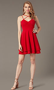 Image of short red wedding-guest dress with tiered skirt. Style: DMO-J324329 Front Image