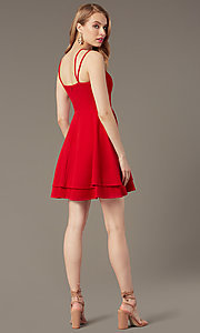 Image of short red wedding-guest dress with tiered skirt. Style: DMO-J324329 Back Image