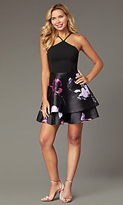 Shop short print-skirt party dress in navy and blush. Style: SS-D71912QAA Detail Image 1