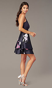 Shop short print-skirt party dress in navy and blush. Style: SS-D71912QAA Detail Image 5