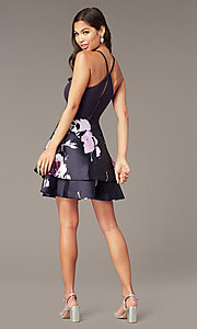 Shop short print-skirt party dress in navy and blush. Style: SS-D71912QAA Detail Image 4