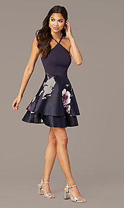 Shop short print-skirt party dress in navy and blush. Style: SS-D71912QAA Detail Image 3