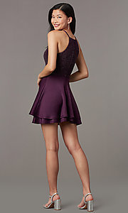 Image of short semi-formal glitter-knit-bodice party dress. Style: SS-D73542J647 Back Image
