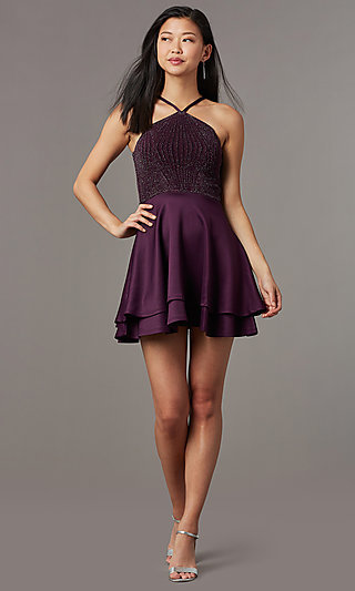 Short Semi-Formal Glitter Knit Bodice Party Dress