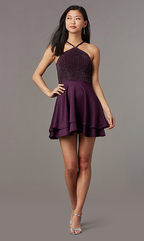 Image of short semi-formal glitter-knit-bodice party dress. Style: SS-D73542J647 Front Image