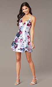 Image of v-neck short satin print graduation party dress. Style: SS-D76652QBD Front Image