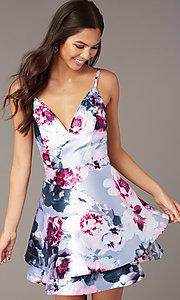 Image of v-neck short satin print graduation party dress. Style: SS-D76652QBD Detail Image 1