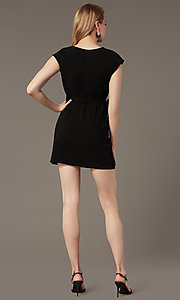 Image of short black party dress with faux-wrap skirt. Style: SS-JA99231GKW Back Image