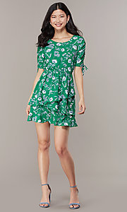 Image of short casual floral-print short-sleeve party dress. Style: SS-JA99722GVH Front Image
