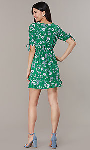 Image of short casual floral-print short-sleeve party dress. Style: SS-JA99722GVH Back Image