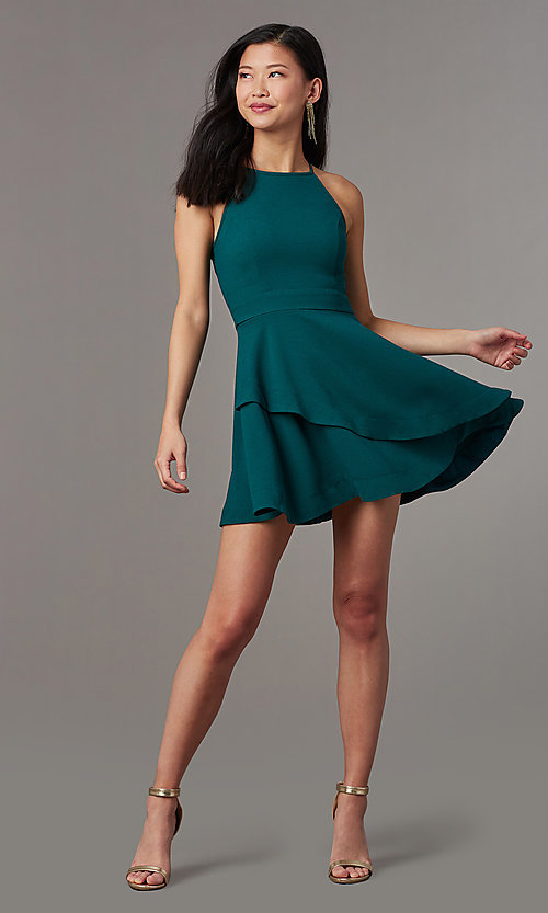 Image of short bubble-crepe wedding-guest party dress. Style: SS-JA95761GKW Front Image