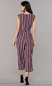 Image of wide-cropped-leg v-neck striped party jumpsuit. Style: SS-JA97903GWD Back Image