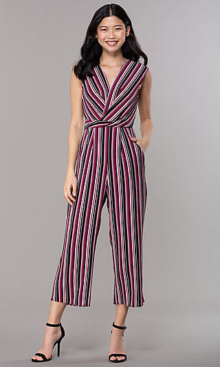 Wide-Cropped-Leg V-Neck Striped Party Jumpsuit