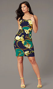 Image of semi-formal short print sheath party dress. Style: SS-D77542DB16 Front Image